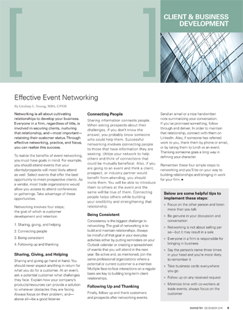 """SMPS Marketer article """"Effective Event Networking"""""""
